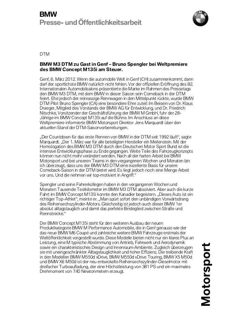BMWPresse- und ÖffentlichkeitsarbeitDTMBMW M3 DTM zu Gast in Genf – Bruno Spengler bei Weltpremieredes BMW Concept M135i a...