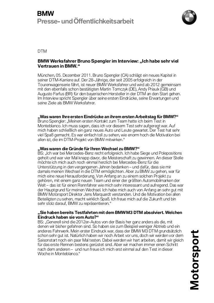 """BMWPresse- und ÖffentlichkeitsarbeitDTMBMW Werksfahrer Bruno Spengler im Interview: """"Ich habe sehr vielVertrauen in BMW.""""M..."""