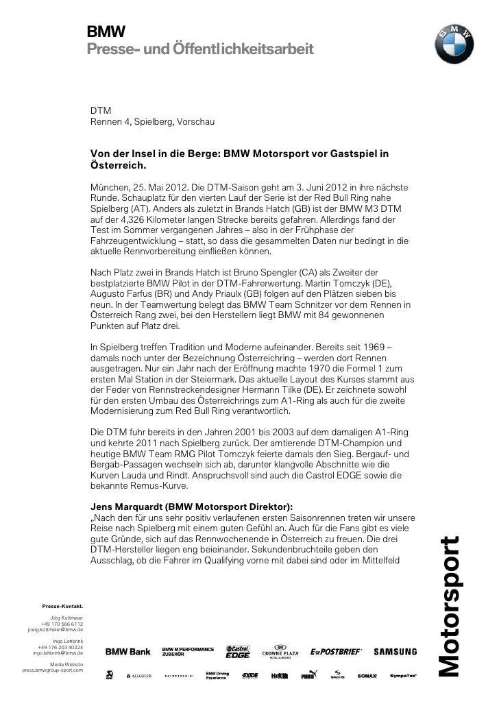 BMW                             Presse- und Öffentlichkeitsarbeit                             DTM                         ...