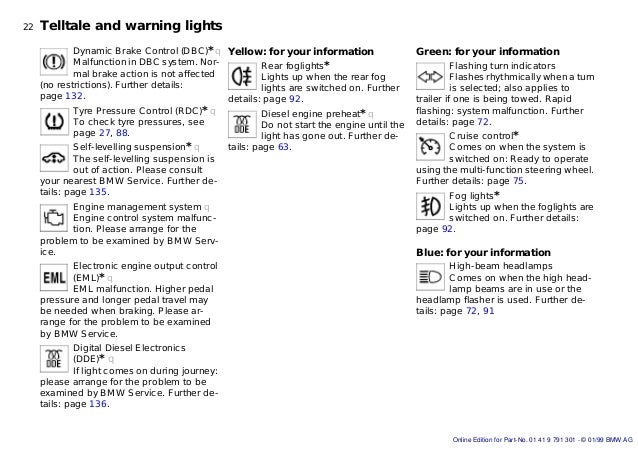 Bmw E Series Owners Handbook - Bmw warning signs on dashboard