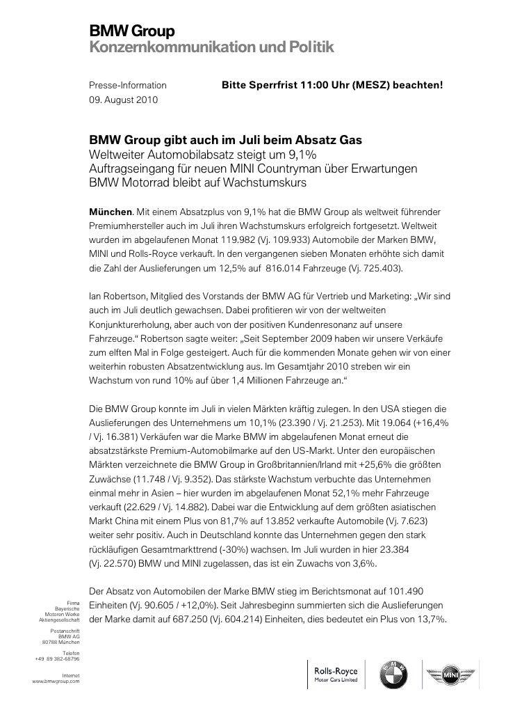 BMW Group                       Konzernkommunikation und Politik                       Presse-Information              Bit...