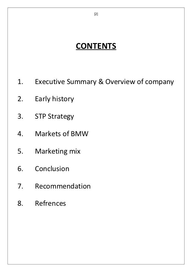 an executive summary report the bmw Learning how to write an executive summary is an important skill for anyone in the business, higher education or academic fields executive summaries are sho.