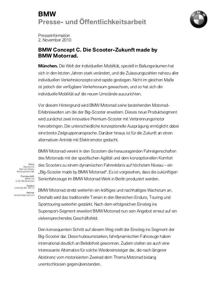 BMW                       Presse- und Öffentlichkeitsarbeit                       Presseinformation                       ...