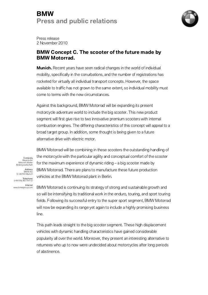 BMW                       Press and public relations                       Press release                       2 November ...