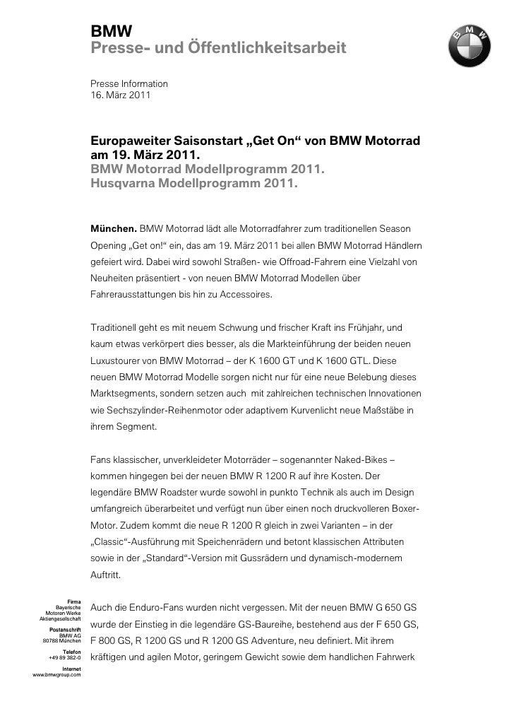 BMW                       Presse- und Öffentlichkeitsarbeit                       Presse Information                      ...