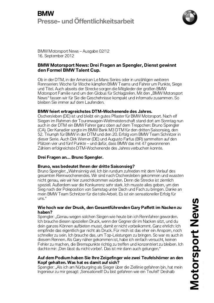 BMWPresse- und ÖffentlichkeitsarbeitBMW Motorsport News – Ausgabe 02/1216. September 2012BMW Motorsport News: Drei Fragen ...