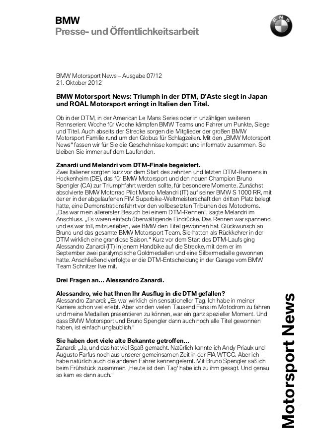 BMWPresse- und ÖffentlichkeitsarbeitBMW Motorsport News – Ausgabe 07/1221. Oktober 2012BMW Motorsport News: Triumph in der...
