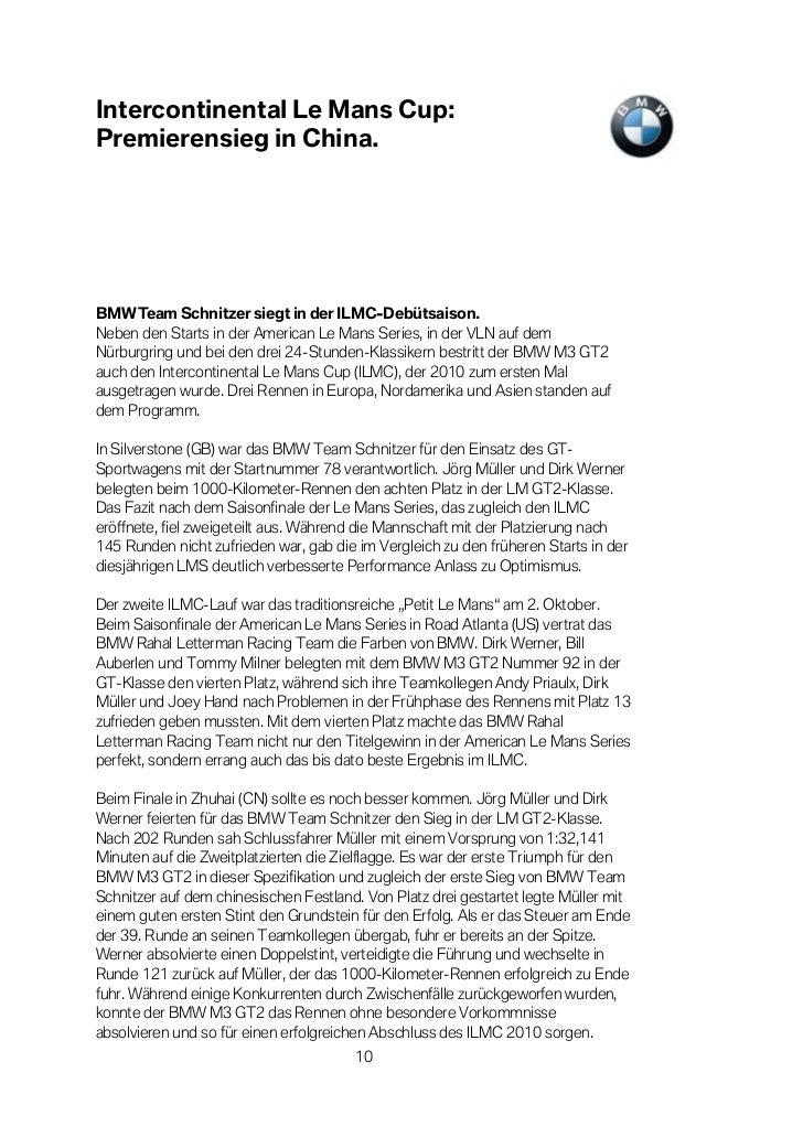 Intercontinental Le Mans Cup:Premierensieg in China.BMW Team Schnitzer siegt in der ILMC-Debütsaison.Neben den Starts in d...