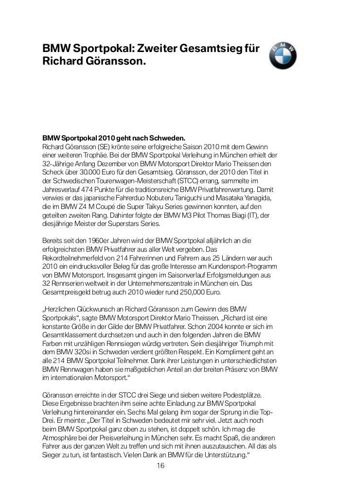 BMW Sportpokal: Zweiter Gesamtsieg fürRichard Göransson.BMW Sportpokal 2010 geht nach Schweden.Richard Göransson (SE) krön...