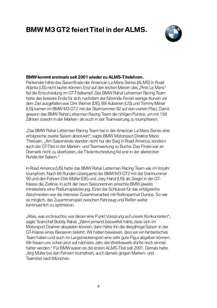 BMW M3 GT2 feiert Titel in der ALMS.BMW kommt erstmals seit 2001 wieder zu ALMS-Titelehren.Packender hätte das Saisonfinal...