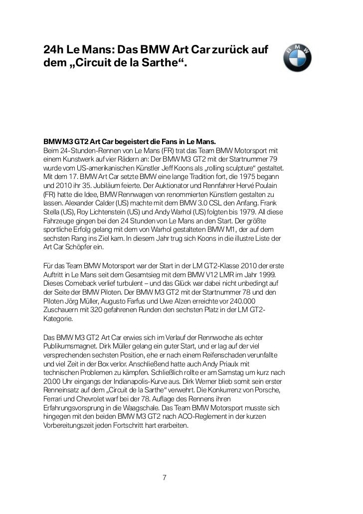 "24h Le Mans: Das BMW Art Car zurück aufdem ""Circuit de la Sarthe"".BMW M3 GT2 Art Car begeistert die Fans in Le Mans.Beim 2..."