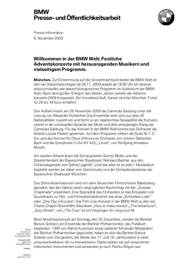 BMW                     Presse- und Öffentlichkeitsarbeit                     Presse-Information                     9. No...