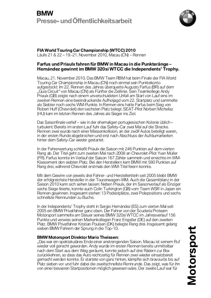 BMWPresse- und ÖffentlichkeitsarbeitFIA World Touring Car Championship (WTCC) 2010Läufe 21 & 22 – 19.-21. November 2010, M...