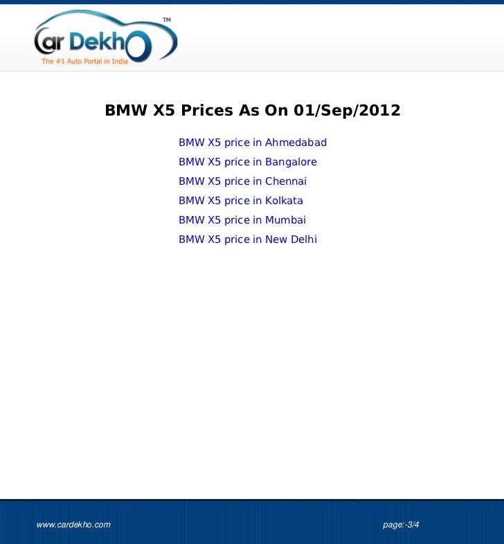 BMW X5 Price 01Sep2012