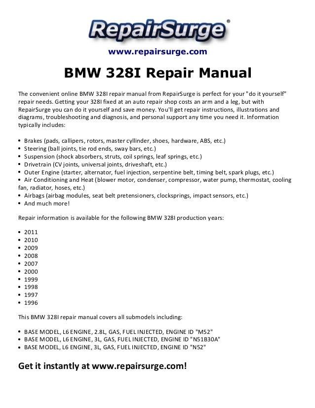 BMW 328I Repair Manual 1996-2011