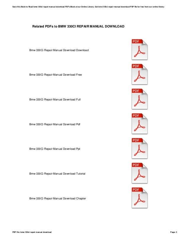 Bmw 330ci repair manual download