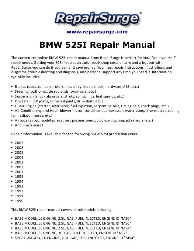 Bmw 525i Repair Manual 19902007rhslideshare: 92 Bmw 525i Engine Diagram At Gmaili.net