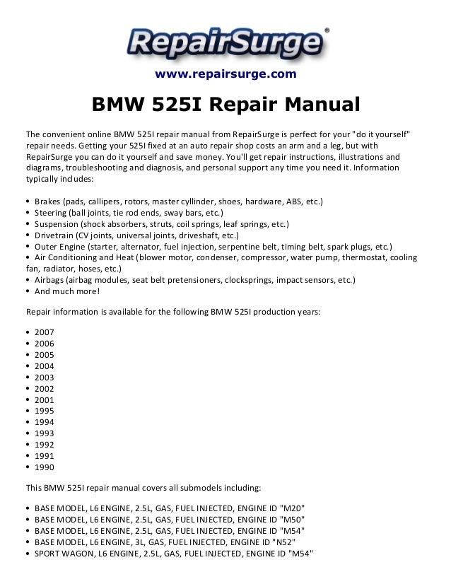 2007 bmw 525i engine diagram diy wiring diagrams \u2022 bmw 318i engine diagram bmw 525i repair manual 1990 2007 rh slideshare net 2001 bmw 325i engine diagram 2001 bmw