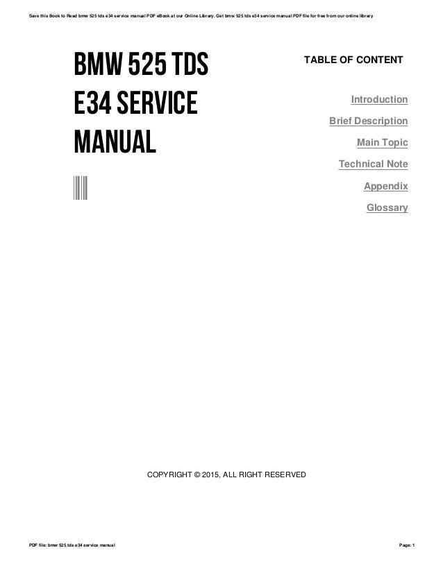bmw 525 tds e34 service manual rh slideshare net BMW 3 Series BMW 3 Series