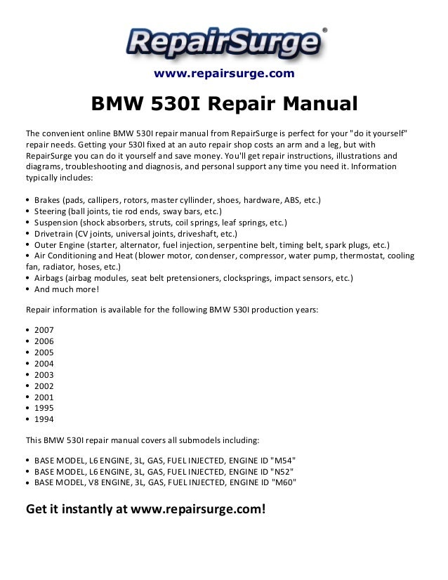 bmw 530i repair manual 1994 2007 rh slideshare net 2001 bmw 530i owners manual 2001 bmw 540i repair manual
