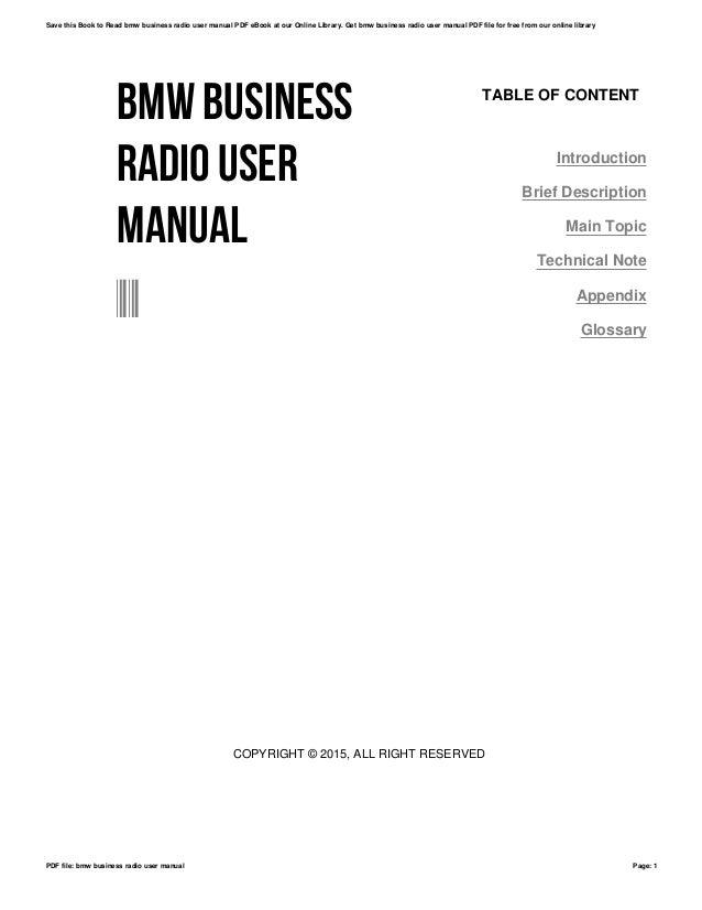 Bmw business radio user manual
