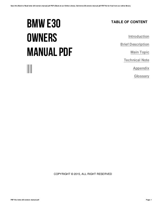 Bmw e30 owners manual pdf