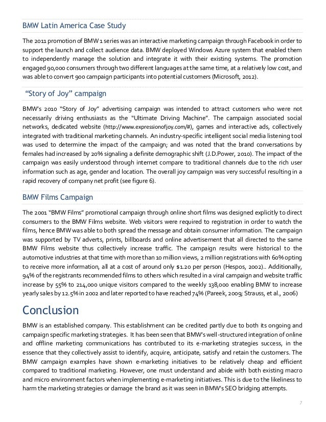 the analysis of bmw The following table illustrates the bmw swot analysis in relation to the uk  market: strengths strong brand image strong leadership from.