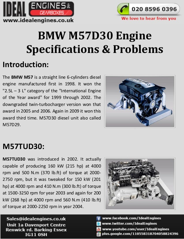BMW M57D30 EngineSpecifications & ProblemsIntroduction:The BMW M57 is a straight line 6-cylinders dieselengine manufacture...