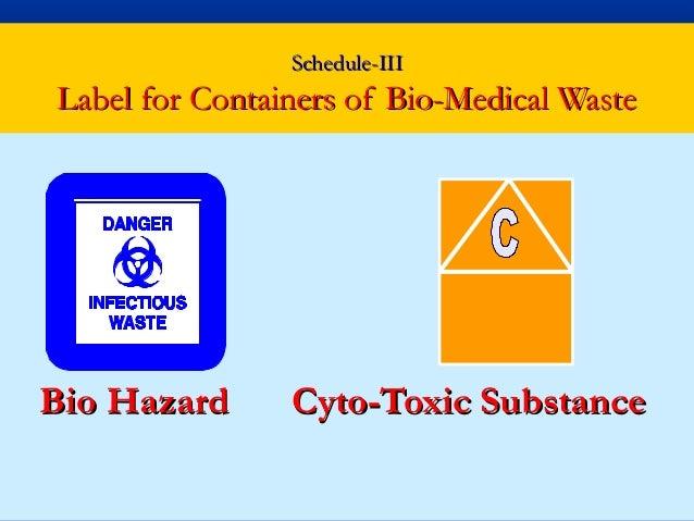 Schedule-IIILabel for Containers of Bio-Medical WasteBio Hazard      Cyto-Toxic Substance