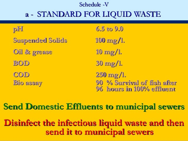 Schedule -V       a - STANDARD FOR LIQUID WASTE  pH                       6.5 to 9.0  Suspended Solids        100 mg/l.  O...