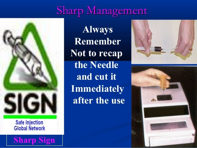 Sharp Management                  Always                Remember               Not to recap                the Needle     ...
