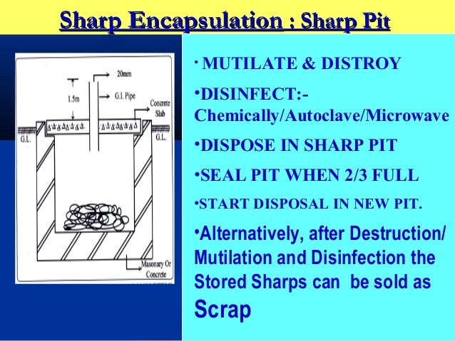 Sharp Encapsulation : Sharp Pit            • MUTILATE    & DISTROY            •DISINFECT:-            Chemically/Autoclave...