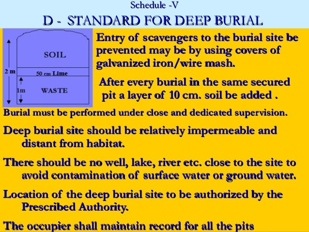 Schedule -V        D - STANDARD FOR DEEP BURIAL                    Entry of scavengers to the burial site be              ...