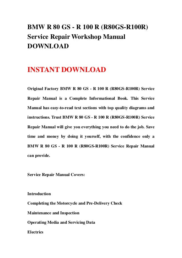 bmw r80gs factory service repair manual