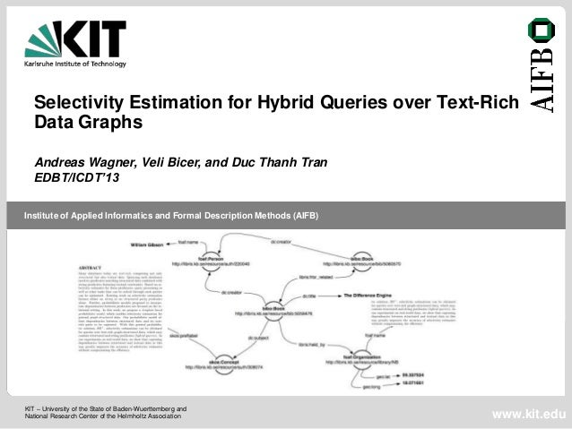 Selectivity Estimation for Hybrid Queries over Text-Rich   Data Graphs   Andreas Wagner, Veli Bicer, and Duc Thanh Tran   ...