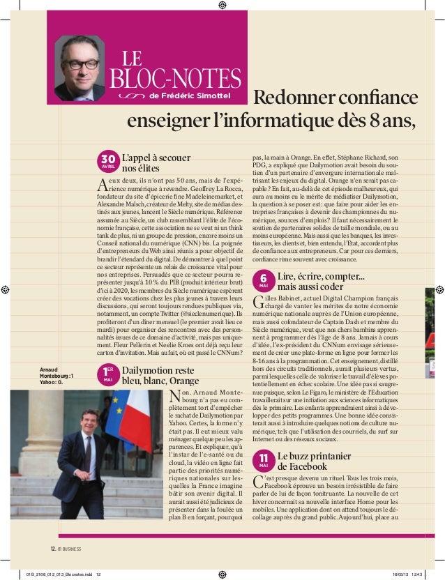 LE  BLOC-NOTES  Redonner confiance enseigner l'informatique dès 8 ans, de Frédéric Simottel  30 L'appel à secouer AVRIL  no...