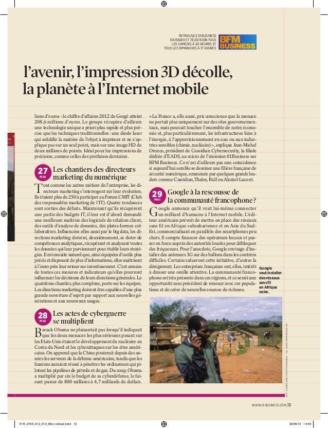 s  l'avenir, l'impression 3D décolle, la planète à l'Internet mobile lions d'euros – le chiffre d'affaires 2012 de Gorgé a...