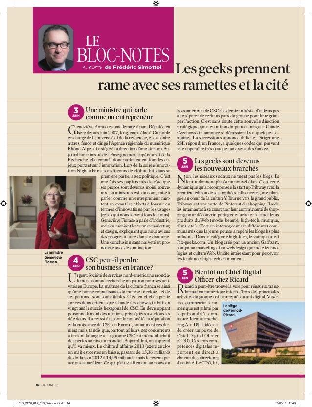 LE  BLOC-NOTES  Les geeks prennent rame avec ses ramettes et la cité de Frédéric Simottel  3 Une ministre qui parle  JUIN ...