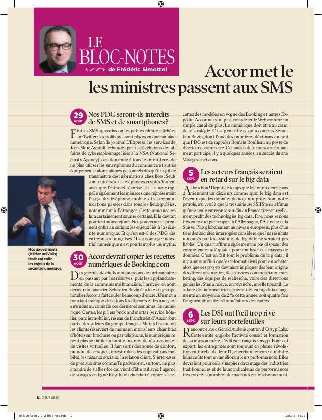 LE  BLOC-NOTES  Accor met le les ministres passent aux SMS de Frédéric Simottel  29 Nos PDG seront-ils interdits AOÛT  de ...