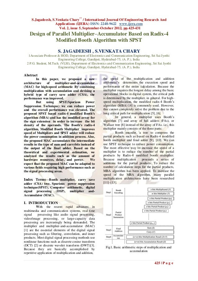 S.Jagadeesh, S.Venkata Chary** / International Journal Of Engineering Research And                    Applications (IJERA)...
