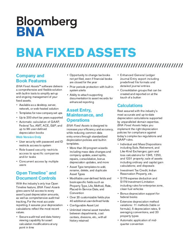 BNA FIXED ASSETS /////////////////////////////////////////////////////////////////////// Company and Book Features BNA Fix...