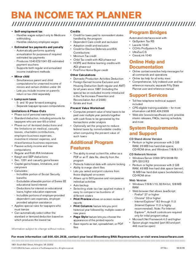 BNA Income Tax Planner Data Sheet – Alternative Minimum Tax Worksheet