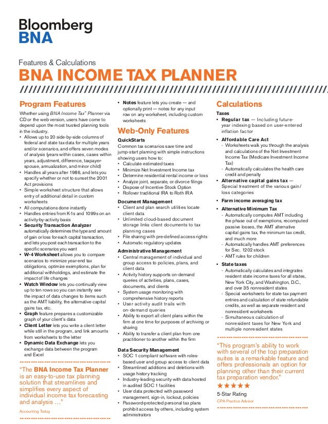 Features & Calculations BNA INCOME TAX PLANNER ///////////////////////////////////////////////////////////////////////// P...