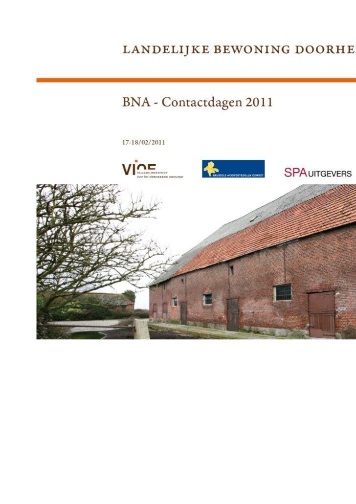 BNA-Contactdagen 2011: Landelijke bewoning doorheen de tijd