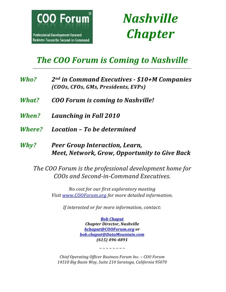 Nashville                                                                     Chapter        The COO Forum is Coming to Na...