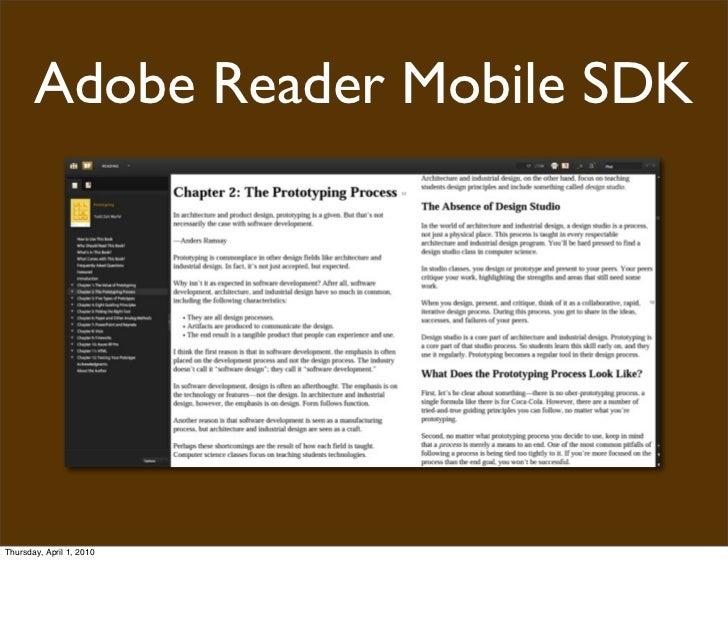 Adobe Reader Mobile SDK     Thursday, April 1, 2010