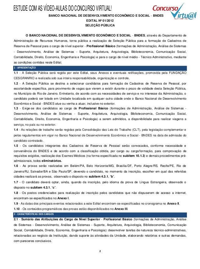 ESTUDE COM AS VÍDEO-AULAS DO CONCURSO VIRTUAL!                          BANCO NACIONAL DE DESENVOLVIMENTO ECONÔMICO E SOCI...