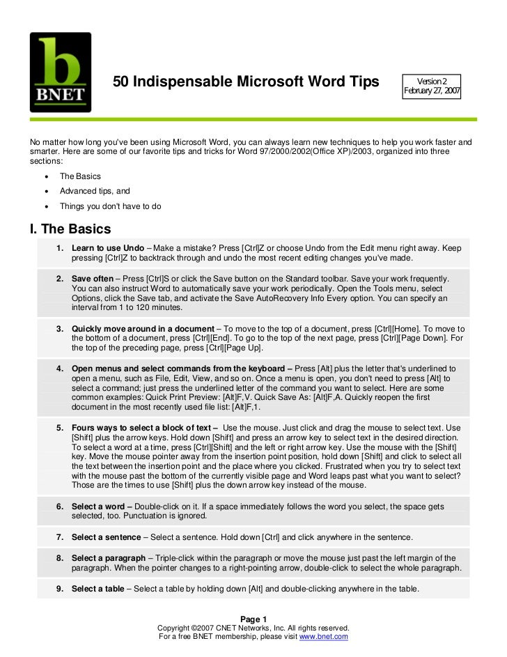 50 Indispensable Microsoft Word Tips                                                  Version 2                           ...