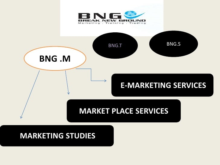 BNG.S<br />BNG.T<br />BNG .M<br /> E-MARKETING SERVICES<br />MARKET PLACE SERVICES<br /> MARKETING STUDIES <br />