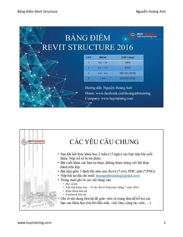 Bảng điểm Revit Structure Nguyễn Hoàng Anh www.huytraining.com 1 BẢNG ĐIỂM REVIT STRUCTURE 2016 Hướng dẫn: Nguyễn Hoàng An...